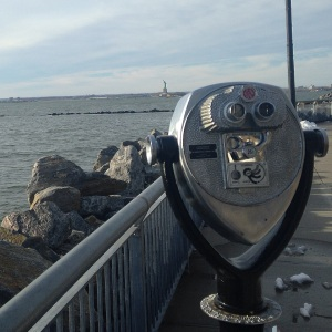 It's here. In Red Hook, where you need this only magnifying glass thing to look at the Statue of Liberty because it is very far away.